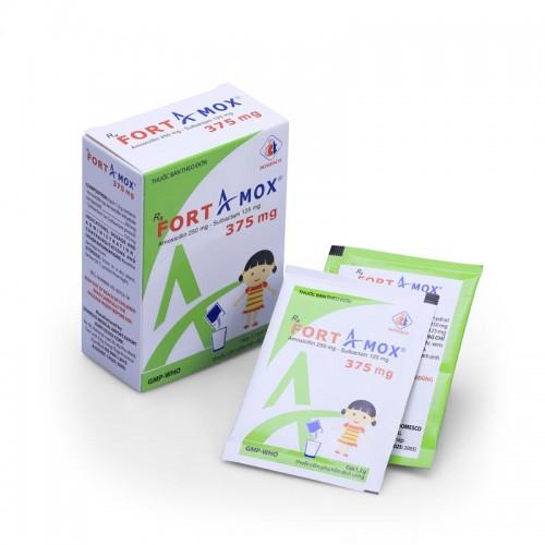 Fortamox 375mg (Amox+Sulbactam)Hộp 12 gói x 1,2g