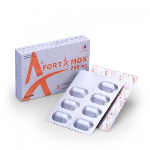 Fortamox 750mg (Amox+Sulbactam)Hộp 2 vỉ x 7 viên