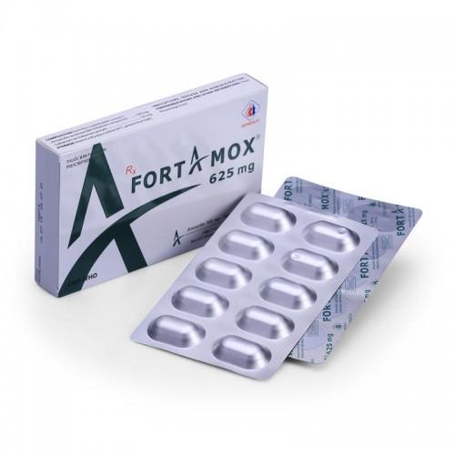 Fortamox 625mg (Amox+Sulbactam)Hộp 2 vỉ x 10 viên
