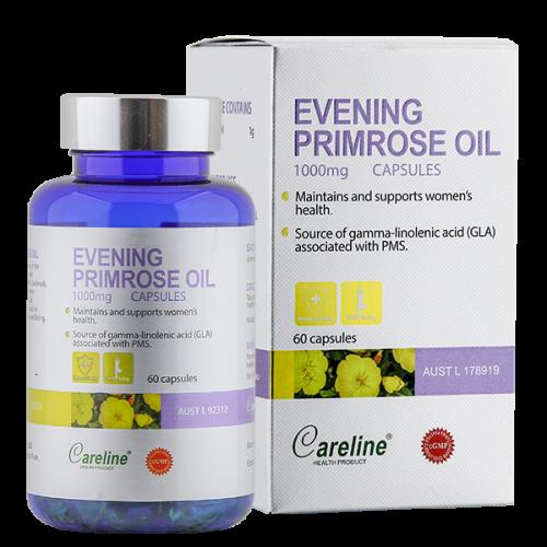 Careline Evening Primrose Oil 1000mg - Tinh dầu hoa anh thảo giúp tăng cường sức khỏe da và nội tiết