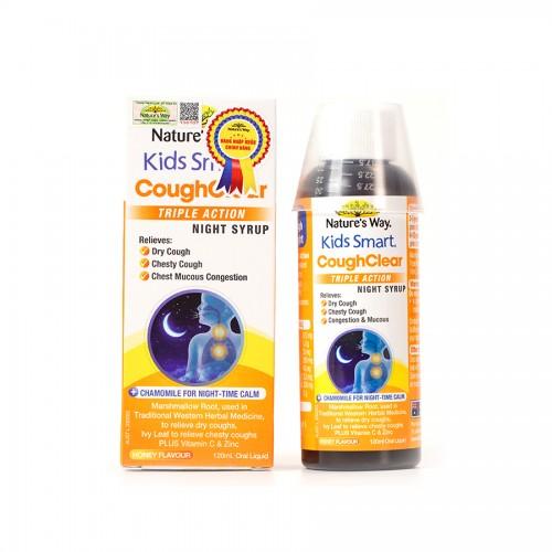 Nature's Way Kids Smart Cough Clear Triple Action Night Syrup - Tăng cường sức khỏe hệ hô hấp, giảm ho, long đờm