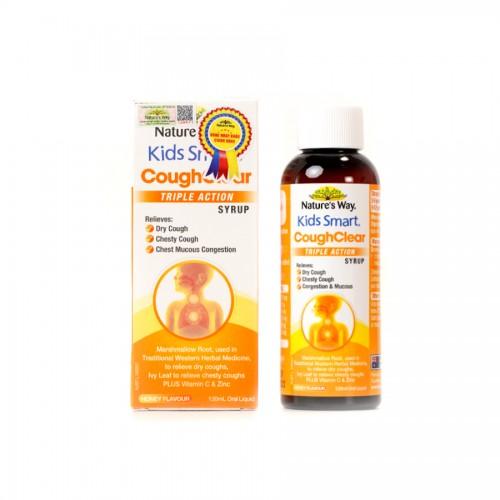 Nature's Way Kids Smart Cough Clear Triple Action Syrup - Tăng cường sức khỏe hệ hô hấp, giảm ho, long đờm